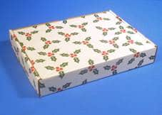 Red, white and green holiday packaging - Leaman Container